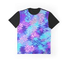Blue and Purple Marble Waves Graphic T-Shirt