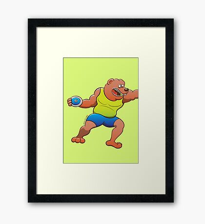 Terrific bear performing a discus throw Framed Print