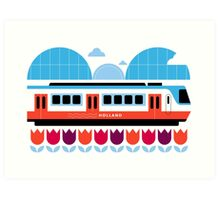 Postcards from Amsterdam / Train and Tulips Art Print