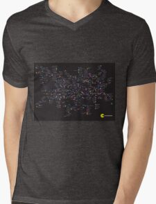 Pac Man Tube map Mens V-Neck T-Shirt