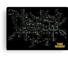 Tube Map as Space Invaders - Poster & stickers Canvas Print