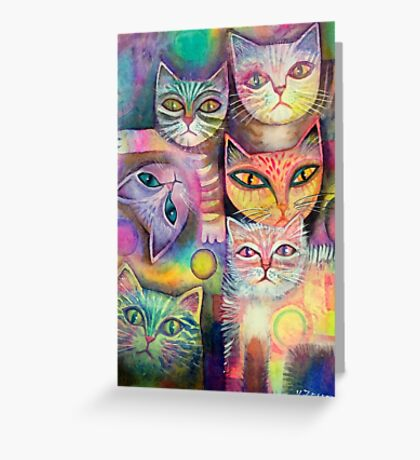 Mother cat and kittens Greeting Card
