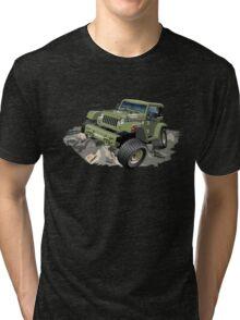 Cartoon military 4x4 car Tri-blend T-Shirt