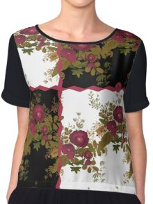 Retro floral poppy pattern, digital print in retro patchwork style Chiffon Top