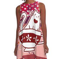 Polk-a-dots Flowers and Teacup Kitty A-Line Dress