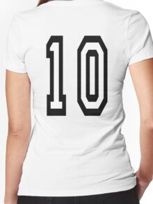 10, TEAM SPORTS NUMBER, TEN, TENTH, Competition Women's Fitted V-Neck T-Shirt