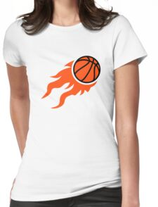 Basketball flames Womens Fitted T-Shirt