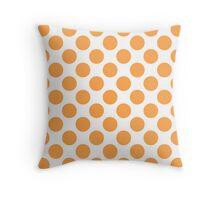 White with Orange Polka Dots Throw Pillow