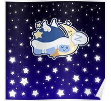 Starry Moon Turtle Sleeping Poster