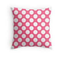 Pink with White Polka Dots Throw Pillow