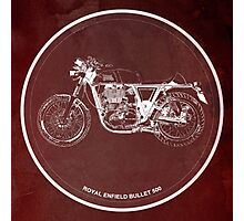 Royal Enfield Bullet 500 Classic motorcycle on red poster Photographic Print