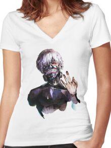 Ken Kaneki Women's Fitted V-Neck T-Shirt