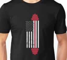 USA Flag Weightlifting Barbell   Unisex T-Shirt