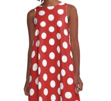 Vintage Style Red with White Polka Dot Duvet Cover Women's Skirt A-Line Dress