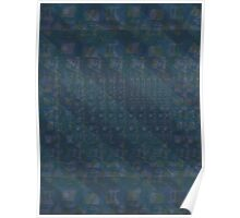 Pattern 001 Hawaiian Vibes Blue Squares Poster
