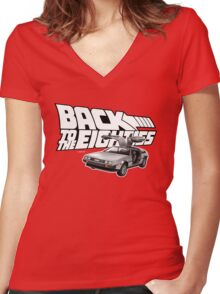 Delorean Back to the Future 80s Style Women's Fitted V-Neck T-Shirt