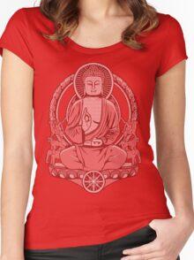 Gautama Buddha Halftone Women's Fitted Scoop T-Shirt