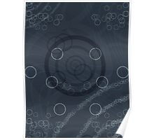 Pattern 002 Galactic Echos Blue Circles Shapes Poster