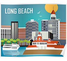 Long Beach, California Skyline from Loose Petals Poster