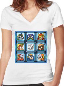 Megaman 2 Boss Select Women's Fitted V-Neck T-Shirt