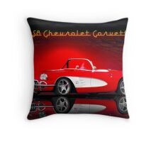 1958 Corvette Roadster 'Reflections' Throw Pillow