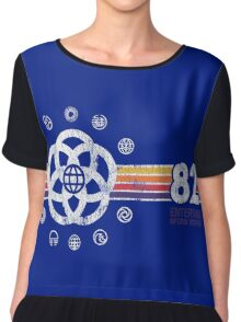 EPCOT Center Vintage Style Distressed Pavilion Logos  Chiffon Top