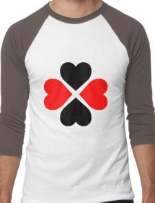 Black Red Hearts Men's Baseball ¾ T-Shirt