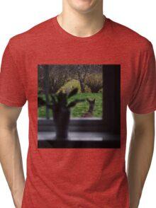 A deer on backyard adventures Tri-blend T-Shirt