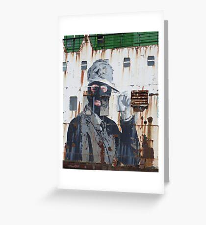 Gangster in a ski mask Criminal Graffiti photograph Greeting Card