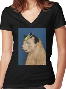 Painting Series - Meowth Women's Fitted V-Neck T-Shirt