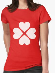 White Heart Flower Womens Fitted T-Shirt