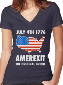 Amerexit The Original Brexit T-Shirt Women's Fitted V-Neck T-Shirt