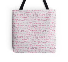 Love lettering seamless pink pattern Tote Bag