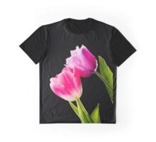 Pink and Red Tulips on Black Background Graphic T-Shirt