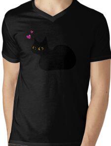 Lucky Black Cat Mens V-Neck T-Shirt