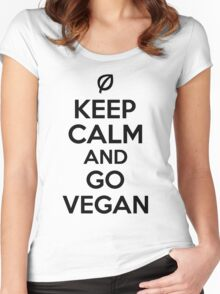 Keep calm and go vegan Women's Fitted Scoop T-Shirt