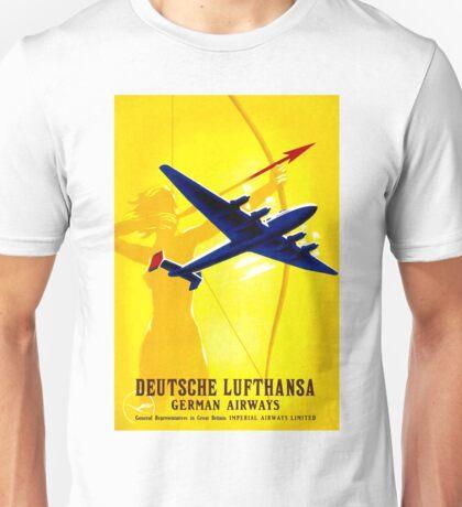 """""""DEUTSCHE LUFTHANSA"""" German Airway Advertising Print Unisex T-Shirt"""