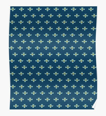 simple seamless knitting blue flower pattern Poster
