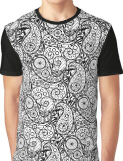 Bicycle Paisley Black and White Graphic T-Shirt