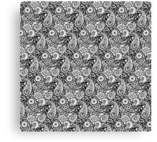 Bicycle Paisley Black and White Canvas Print