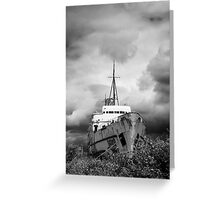 Old Ship and Stormy Clouds Greeting Card