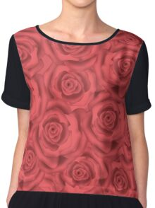 Retro floral  pink roses pattern, digital print  Chiffon Top