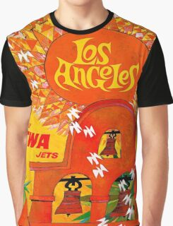 """""""TWA AIRLINES"""" Fly to Los Angeles Print Graphic T-Shirt"""