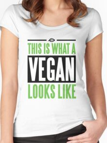 This is what a vegan looks like Women's Fitted Scoop T-Shirt