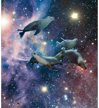 Sea lions in space Sticker