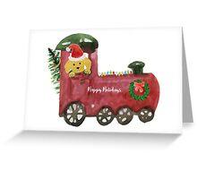 Christmas Train Preppy Golden Retriever Dog Greeting Card