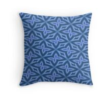 Royal Blue and White Floral Abstract Throw Pillow
