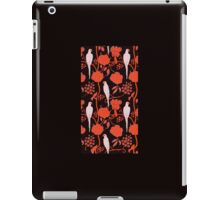 ART DECO BLACK RED FLOWERS,WHITE PARROTS iPad Case/Skin