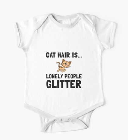 Cat Hair Lonely People Glitter One Piece - Short Sleeve