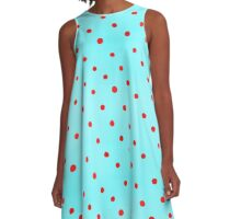 Sky Blue and Red Polka Dots A-Line Dress